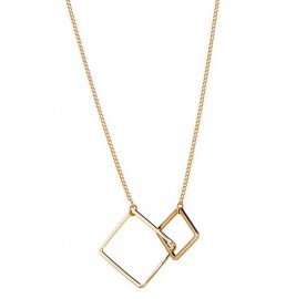 Goud Plated Necklace with Double Square