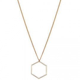 Hexagon ketting lang rose goud
