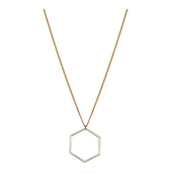 Hexagon ketting lang rose goud