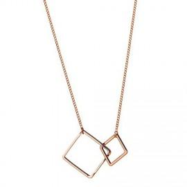 Rose gouden ketting dubbele vierkanten.