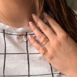 Gouden ring minimalistische ring dubbele staven.