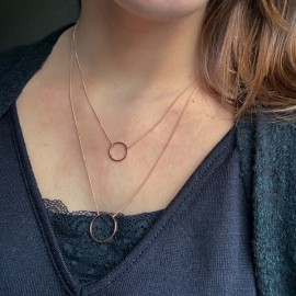 Pink Rosé Plated Double Necklace with Double Circle